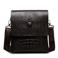 Wholesale Vintage Leather Briefcase Laptop - Alligator Style Leather Men Messenger Bags Crocodile Fashion Men Shoulder Bag Vintage Crossbody Ipad Laptop Briefcase HK070