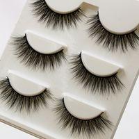 Wholesale Threads Eyelashes - 3D Mink Hair False Eyelashes 3 Pairs Handmade Cotton Thread Messy Soft Natural Thick Fake Eyelashes 3D Three Dimensional Makeup Tools Eye
