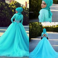 mavi müslüman gelinlik toptan satış-Yeni 2017 Sky Blue Uzun Kollu Müslüman Gelinlik Yüksek Boyun Tül Dantel Kristal Bir Çizgi Gelin Törenlerinde Vestido De Noiva