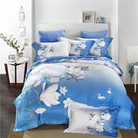 Wholesale Tencel Fabric Sheets - 60 yarn tencel fabric bed sheet bed linen four pieces bedding set 100% cotton fabric,flower designs blue color car childrenhood huakai feira