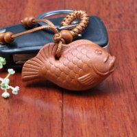 Wholesale Wood Fish Carving - 1pc Top Quality New Fashion Wholesale Key Chain Wooden Keychain Cute 3D carved Fish Keyrings Classic wood car keychain llaveros