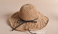 Wholesale Cloche Crochet Wholesale - Girls hats hot sell Girl crochet straw hats Felt Crushable bows Cloche Floppy Sun Cap girls princess hats summer kids beach hat T2288