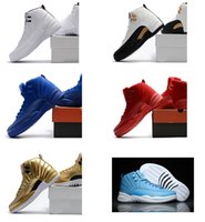 Wholesale Red Sun Rising - 2017 Air retro 12 men basketball shoes ovo white Red Suede Deep Royal Blue rising sun flu game wolf grey TAXI playoff sneakers