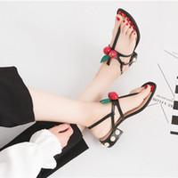 Wholesale Cherry Hot Fashion Flat Heel Flip Slippers Genuine Leather Summer Travel Beach Flip Flops Sandals Shoes For Women Sz us4