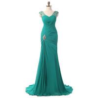 elegantes vestidos de fiesta verde esmeralda al por mayor-Emerald Green Prom Dress 2019 Robe De Soiree Courte elegantes vestidos de noche de sirena con mangas largas