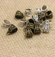 Wholesale European Bail Beads - 1000 lot Antique Silver bronze Hollow Carved Bail beads Spacer Beads for Dangling Charms Fit European Bracelet 13x8mm hole 6mm