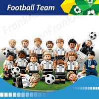 Wholesale Germany Toys - 24pcs lot Football Team Figures Germany Team Soccer Coach Goalkeeper Striker Center Forward Back Figure Mini Building Blocks Figures Toy
