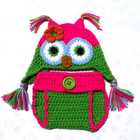 Wholesale diapers owl resale online - Novelty Pink Green Owl Newborn Costume Handmade Knit Crochet Baby Girl Owl Animal Earflap Hat and Diaper Cover Set Infant Toddler Photo Prop