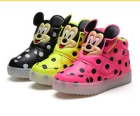 Wholesale Kids Flashing Shoes - 2016 New Autumn Led Flash Lighting Shoes Luminous girls boys sport shoes casual kids sneakers cartoon mickey mouse dot shoes Olympic running