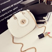 Wholesale New Crochet Cute Bag - Sweet summer new fashion one shoulder inclined shoulder bag lock chain female bag cute little round bag wholesale