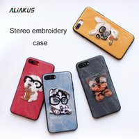 Wholesale Iphone Case Three Dimensional - For iphone 6 6s 7 7plus case Dog animal cartoon three - dimensional embroidery painted phone sase