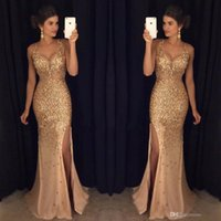 Wholesale Sexy Coral Party Dresses - 2017 Gold Shinny Prom Dresses Sexy V Neck Cap Sleeves Beaded Sequins Side Slit Prom Dresses Formal Party Dresses
