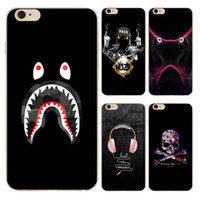 Wholesale Case Iphone 4s Skull - Personality Music Headphones Skull Clear Soft Silicone TPU Cell Phone Case for iphone X 8 7 6S Plus 5S 5C 4S Back Cover