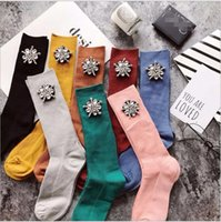 Wholesale Colored Cotton Socks Women - 2017 New Arrived Glitter socks 1Pair  lot Popular Fall Winter Socks Retro Handmade Jewel Cotton Candy Colored Socks Fashion Trend Piles He