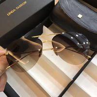 Wholesale Brown Linda - 2017 Linda Farrow LFL498 Sunglasses Gold Brown Lenes Women Fashion Designer sunglasses Brand New with Box