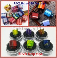 Wholesale Resin Wholesale - Hot TFV8 drip tip Clearomizer Mouthpiece 510 Thread Epoxy Resin TFV8 Big baby drip tips mouthpiece for TFV8 baby TFV12 Cloud Beast Atomizer