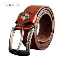 Wholesale Korean Jeans Belts - Wholesale- IFENDEI PU Leather Belt Men Casual Luxury Designer Men's Belts Korean Fashion Tide Jeans Male Buckle Wide Strap Ceintures Homme