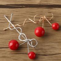 Wholesale red cherry hair clips resale online - Charming Hair Clip Women Girls Ladies Korean Red Cherry Shaped Bow Hairpin Twist Hair Clip Headdress Hair Accessories