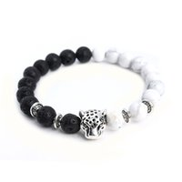 Drop Shipping Tibetano Leopard Head Yoga Womens Bracelet White HowliteBlack Lava Stone Beaded Bracelets Men Elastic Rope A02