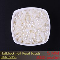 5 mm ABS Flat Back Pure Color e Off Color Plastic Half Pearl Beads Loose Beads for Jewelry