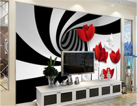 ingrosso pareti bianche fiori neri-Foto personalizzata 3d carta da parati Non tessuto murale nero strisce bianche fiori decorazione pittura 3d murales carta da parati per pareti 3d