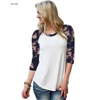 Wholesale Korean Tee Shirts Wholesale - Wholesale-Korean Style T-shirt Women Girl Round Neck Floral Raglan Sleeve Slim Tee Shirt Femme Stretch White T Shirt Camisetas Mujer Blusa