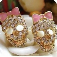 Wholesale Skull Bow Studs - 2017 new hot Factory direct sales Vintage Rhinestone Crystal Skull Pink Bow Earrings Lady free shipping