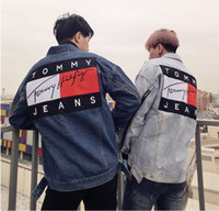 Wholesale Denim Jeans Xl Women - Tommy Jeans Patch Hip Hop Zips Outerwear USA Streets popular brand justin bieber denim jacket for Men Women Coats