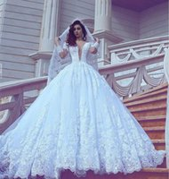 Wholesale Vestido Dubai Bridal - 2017 White Elegant Wedding Dresses Sheer Long Sleeve Vintage Lace Arabic Dubai Bridal Gowns Court Train Plunging V Neck Vestido De Novia