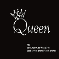 Wholesale Hotfix Transfers - 36pcs lot Hotfix Rhinestone Transfers Iron On Motif Queen Crown Letters Wholesale