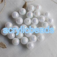 Cheap Wholesale AB White Sea Shell Couleurs Acrylic Faux Pearl Beads Loose Spacer Round Ball 6-30mm pour la fabrication de bijoux