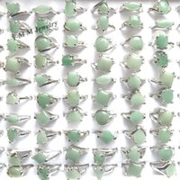 Wholesale Cheap Rhodium Plated Rings - 50pcs Natural Green Jade Rings Mixed Size For Women Cheap Rings For Promotion