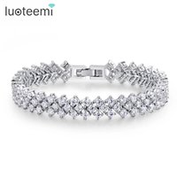 Wholesale Costume Jewelry Diamond Sets - LUOTEEMI Fashion Luxury Zircon Jewelry Bangles And Bracelets for Women Costume Jewelry AAA Cubic Zirconia Diamond Wedding Bridal Bracelet