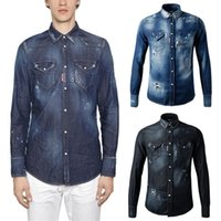 Wholesale Long Sleeve Blue Jean - Damage Denim Shirt Men's Destroyed Hole Patches Stitches Detail Painted Dots Skinny Fit Comfortable Jean Shirt Longsleeve Cool Guy