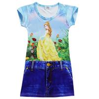 Wholesale Chinese Formal Short Dresses - Beauty and the beast Girls denim Dress 2017 Summer NEW Baby cartoon Printed Children short sleeve Princess dresses