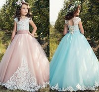 Wholesale Little Princesses Dresses - Vintage Lace Girls Pageant Dresses 2018 Cap Sleeves Tulle Lace Up Back Applique Tulle Little Birthday Flower Girl Gowns Custom Made