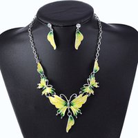 Barato Gotejamento-New Fashion Drip Oil Butterfly Necklace Statement Earring Mulheres Bohe Punk Vintage Cute Animal Crystal Collar Choker Jóias Conjuntos Atacado