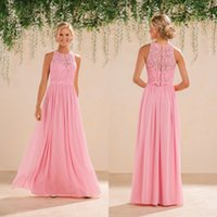 Wholesale Silver Formal Dresses For Sale - Pink Dress For Bridesmaid Formal Wear Two Part Chiffon Dress Lace Above Elegant Covered Bottons Sleeveless Jewel Neck Hot Sale Customize