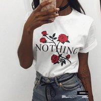 Wholesale New Fashion Womens Rose Print T Shirt Summer Floral Flower Print Round Neck Casual Tops Femme Short Sleeve Tee Shirt Tops Plus Size