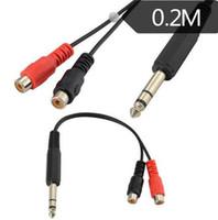 fio de ouro hdmi venda por atacado-20 cm dc6.35mm macho jack para 2 rca phono fêmea jack de áudio estéreo y splitter cabo