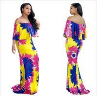 Wholesale plus size sundresses - 2018 Summer African Dresses for Women Printing Dashiki Dress Robe Femme Casual Indian Clothing Plus Size Sundress M625-11