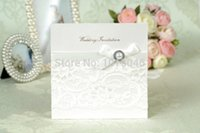 Wholesale Invitations Bead - Wholesale-Free Shipping 20 X White Han-Style Lace Wedding Invitation Card With Bead Bow & Envelope Wedding Supply Gifts