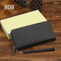 Wholesale Leather Clutch Checkbook Holder Wallet - Genuine leather wallet high quality famous big designers clutch bag women handbag shoulder messenger bag coin purse