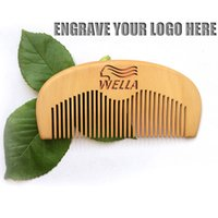 Wholesale Wooden Names Wholesale - Your LOGO Customized Combs Engraved Name Natural Peach Custom Wooden Comb Beard Comb Company Advertising Promotion Gifts Mens Grooming Tool