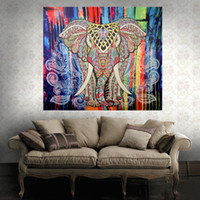 Fondo Vivo Baratos-Folk Custom Tapestry Elephant Background Tapicería Mandala Yoga Home Cloth Toalla de playa Living Room Decoration Decoración de pared ECO Friendly