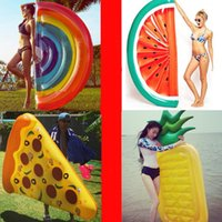 Piscina inflable Float Swan Floating Bed Raft Colchón de aire Verano PVC Adultos Juguete Floating Row Jugar Agua Playa de arena Mar Piscina Pizza