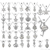 sea pearl achat en gros de-Love Wish Pearl Cages Locket Collier Hollow Out Oyster perle Pendentif Collier Freshwater Pearl Shark Mermaid Sea Horse Bijoux DIY