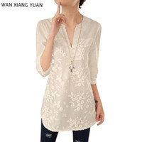 Wholesale Korean Fashion Women Shirts - Wholesale- Women White Lace Blouse 2017 New Summer Korean Flower Print Long Sleeve V-neck Embroidered Shirt blusas bordadas