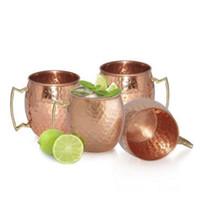 ingrosso tazza in ottone-Tazze intercambiabili Moscow Mule Cups Tazze in acciaio inox Mug Mug ottone con impugnatura in ottone massiccio OOA1071