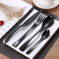 ingrosso set da pranzo nero-Set 24 posate in acciaio inox Set posate da tavola in acciaio inox Set di posate da tavola Set di coltelli e forchette